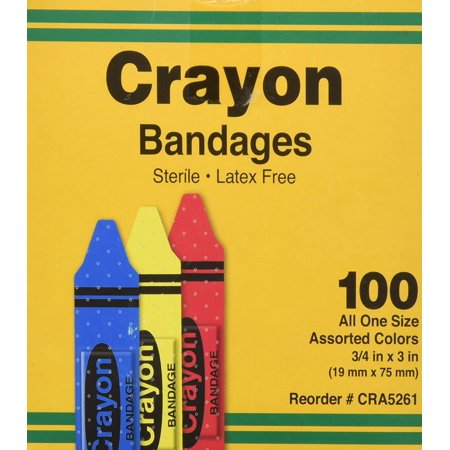 Bandages, Crayon Strips, Adhesive, 100/BX (AGPCRA5261) Category: Bandages and Dressings, Box of 100 By ASO