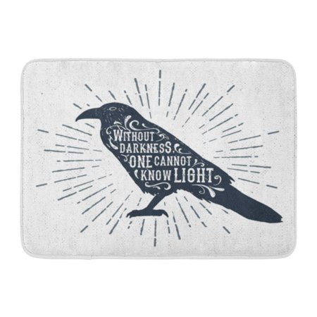 SIDONKU Halloween Label Raven and Without Darkness One Cannot Know Light Inspirational Lettering Doormat Floor Rug Bath Mat 23.6x15.7 inch](100 Floors Floor 1 Halloween Special)