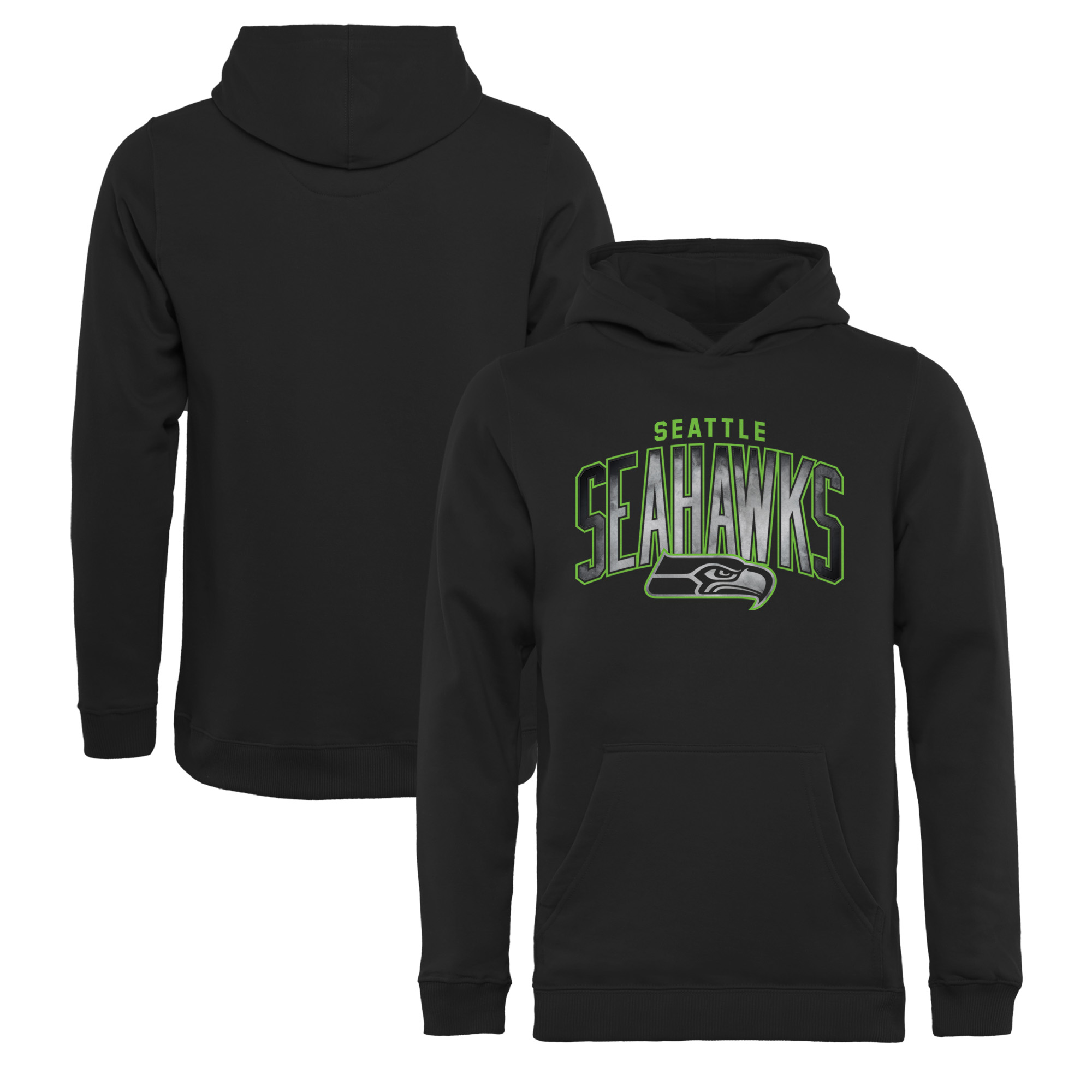 Seattle Seahawks NFL Pro Line by Fanatics Branded Youth Arch Smoke Pullover Hoodie - Black
