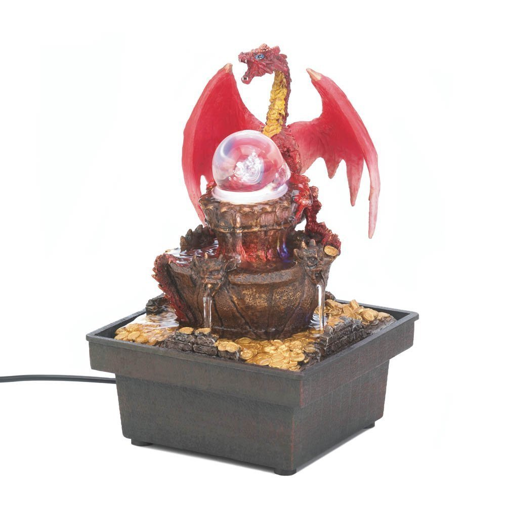 Tabletop Fountains, Small Red Dragon Indoor Water Fountain Tabletop With  Led, This Led Light