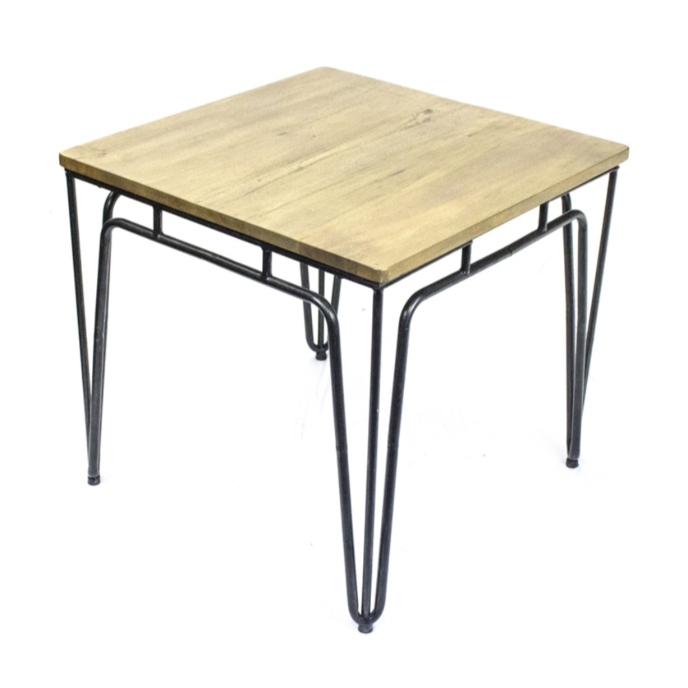 Classic Metal Accent Table With Wood Top, Brown & Black by Benzara