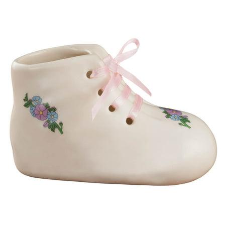 "Porcelain Baby Bootie Heirloom – Pink Girl - Ceramic Baby Shoe Keepsake – Birth, Baptism or Christening Gift - 4"" Long by 2"" Wide"