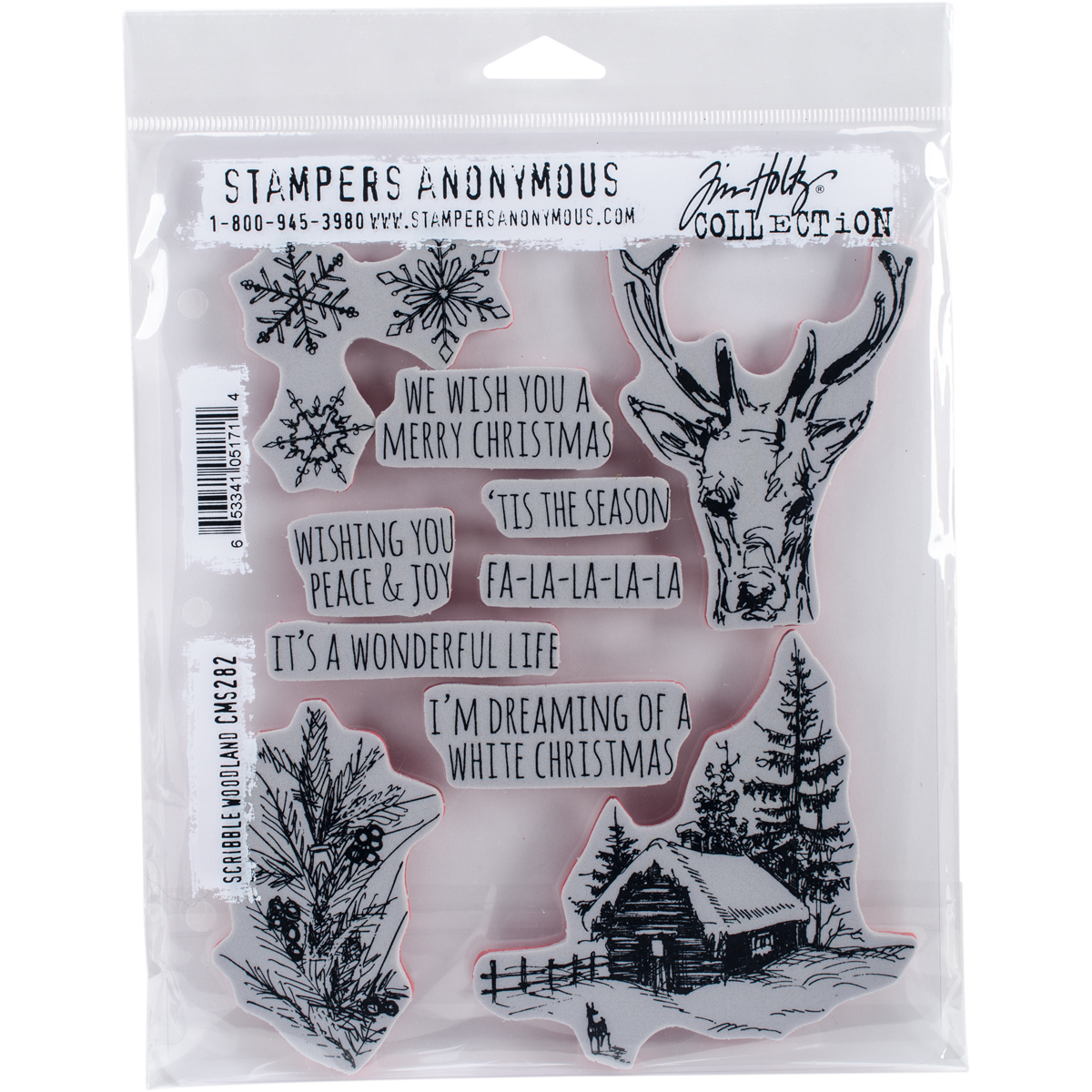 """Tim Holtz Cling Stamps 7""""X8.5"""" Scribble Woodland"""