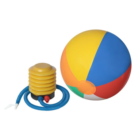 12-Pack of Inflatable Beach Balls with Air Pump Inflator with Flexible Pipe - Colored Beach Balls
