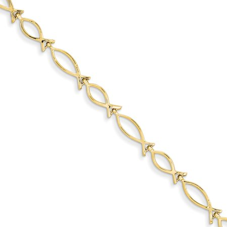 14K Gold Ichthus Fish Link Bracelet Jewelry 7
