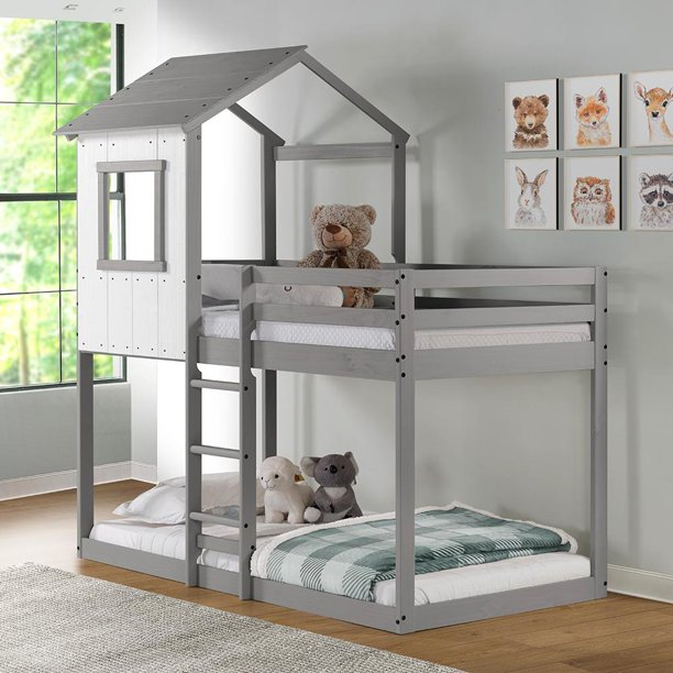 Tree House Bunk Bed - Rustic White w/ light grey frame