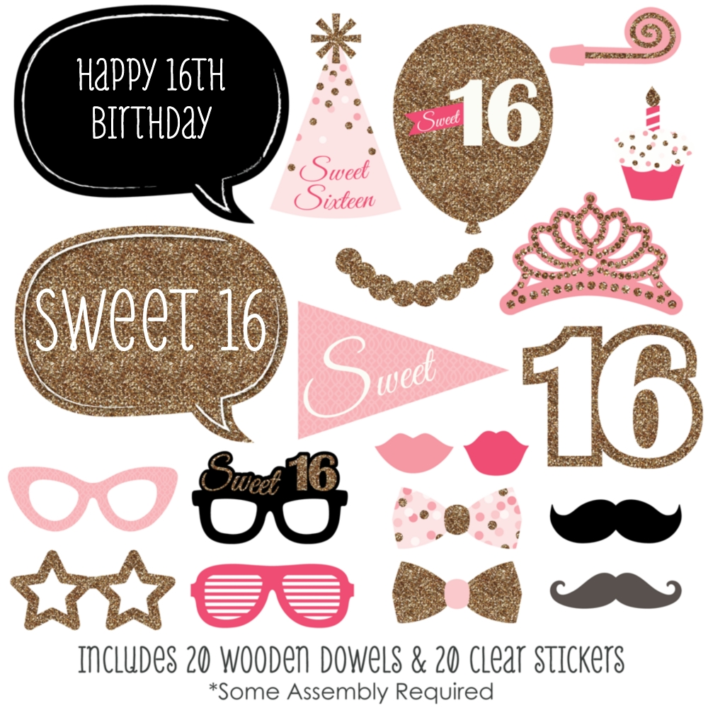 sweet 16 birthday photo booth props kit 20 count walmart com