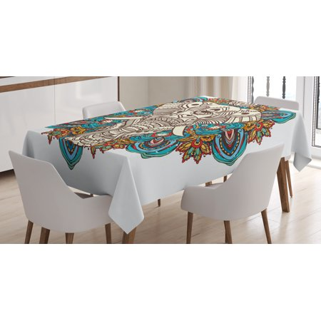 Elephant Mandala Tablecloth  Spirit Animal Guardian Of Temples Indian Belief Seven Royal Symbols Print  Rectangular Table Cover For Dining Room Kitchen  60 X 84 Inches  Multicolor  By Ambesonne