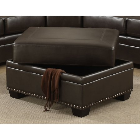 Christies Home Living Louis Collection Antique Brass Nail Head Trim Leather Storage (Antique Leather Ottoman)