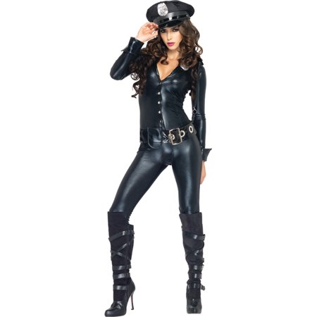 (Morris Costumes Leg Avenue Womens Officer Button front lame catsuit with communicator cord accent, badge, belt with oversized grommets Payne, Large, Style UA83912LG)