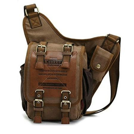 83f661d91c28 Mens Boys Vintage Canvas Shoulder Military Messenger Bag Sling School Bags  Chest Military Leather Patchwork Messenger