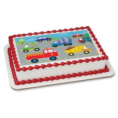 Cars and Trucks Edible Icing Image (1/4 - Sheet Pan Icing