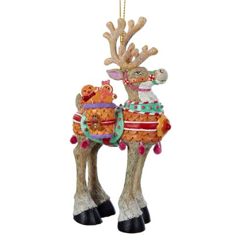 "5"" Polar Prancers Gingerbread Reindeer Decorative Christmas Ornament"