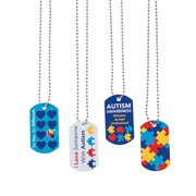 Autism Awareness Dog Tag Necklaces - Jewelry - 12 Pieces