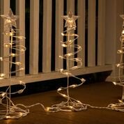 Alpine Corporation Spiral Christmas Tree Decor with LED Lights - Set of 3