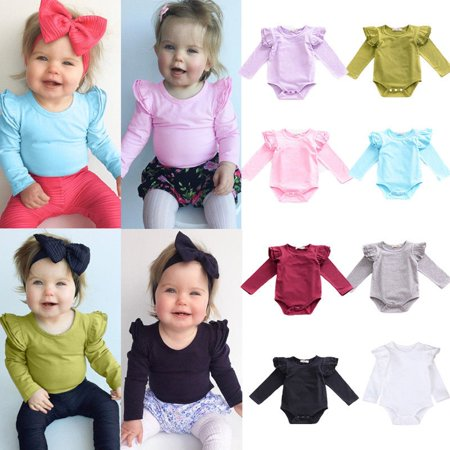 Newborn Baby Girl Boy Long Sleeve Romper Bodysuit Outfits Jumpsuit Playsuit Clothes 0-24M - Pink Monster Onesie
