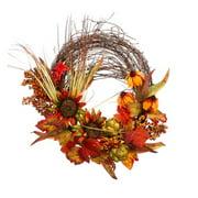 "26"" Autumn Harvest Sunflower, Black-Eyed Susan and Artichoke Artificial Thanksgiving Twig Wreath"