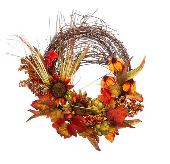 "26"" Autumn Harvest Sunflower, Black-Eyed Susan and Artichoke Artificial Thanksgiving Twig Wreath"