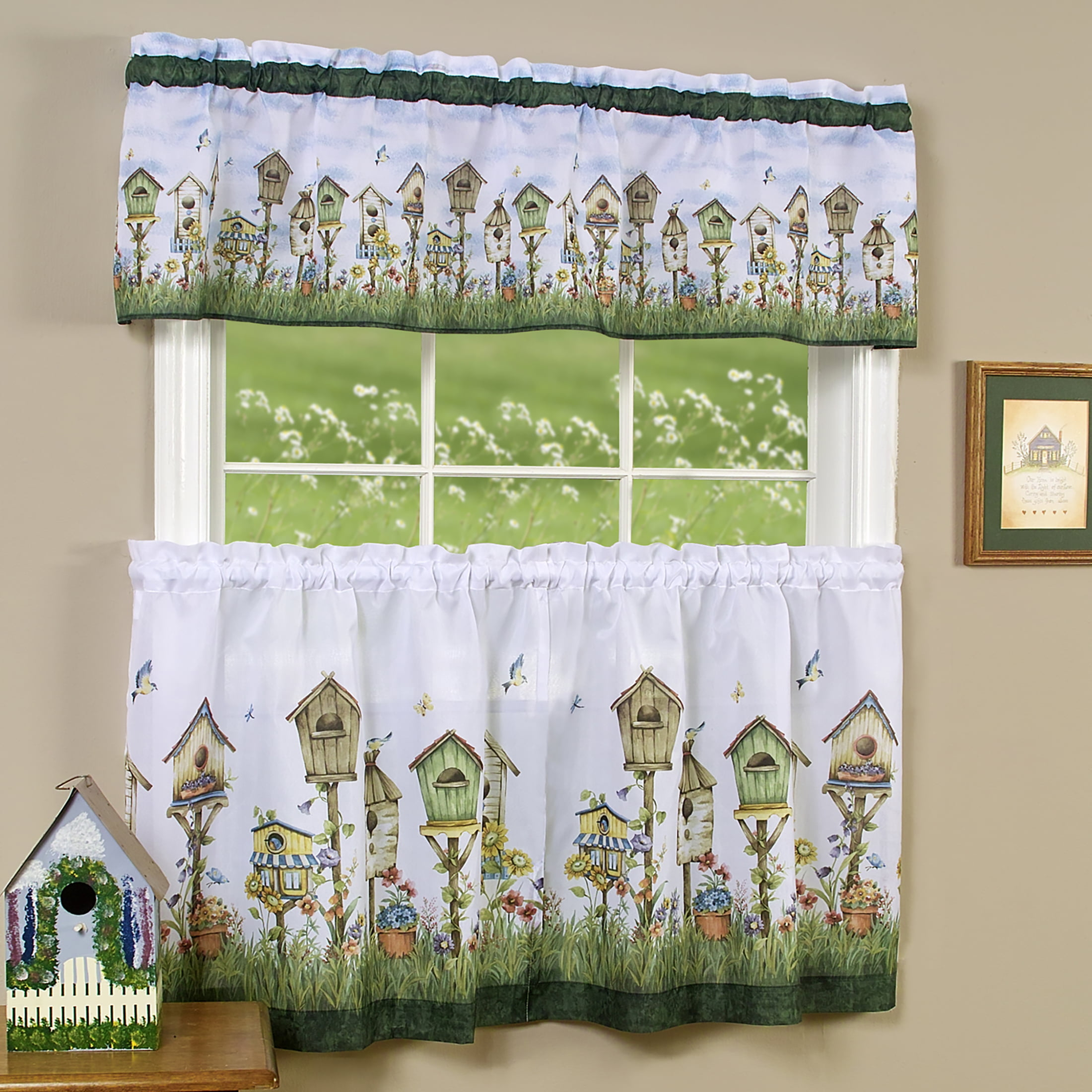Powersellerusa 3 Piece Kitchen Curtains And Valance Set Rustic Birdhouses Cafe Curtains Farmhouse Bathroom And Kitchen Decor Set Birdhouse Garden Walmart Com Walmart Com