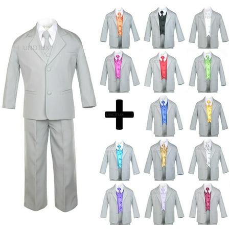 7pcs Baby Toddler Boys Kids Teen Wedding Formal Tuxedo Suits Light Gray sz