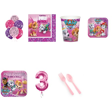 Paw Patrol Pink 3rd birthday supplies party pack for 16 - Themes For 16 Birthday Parties
