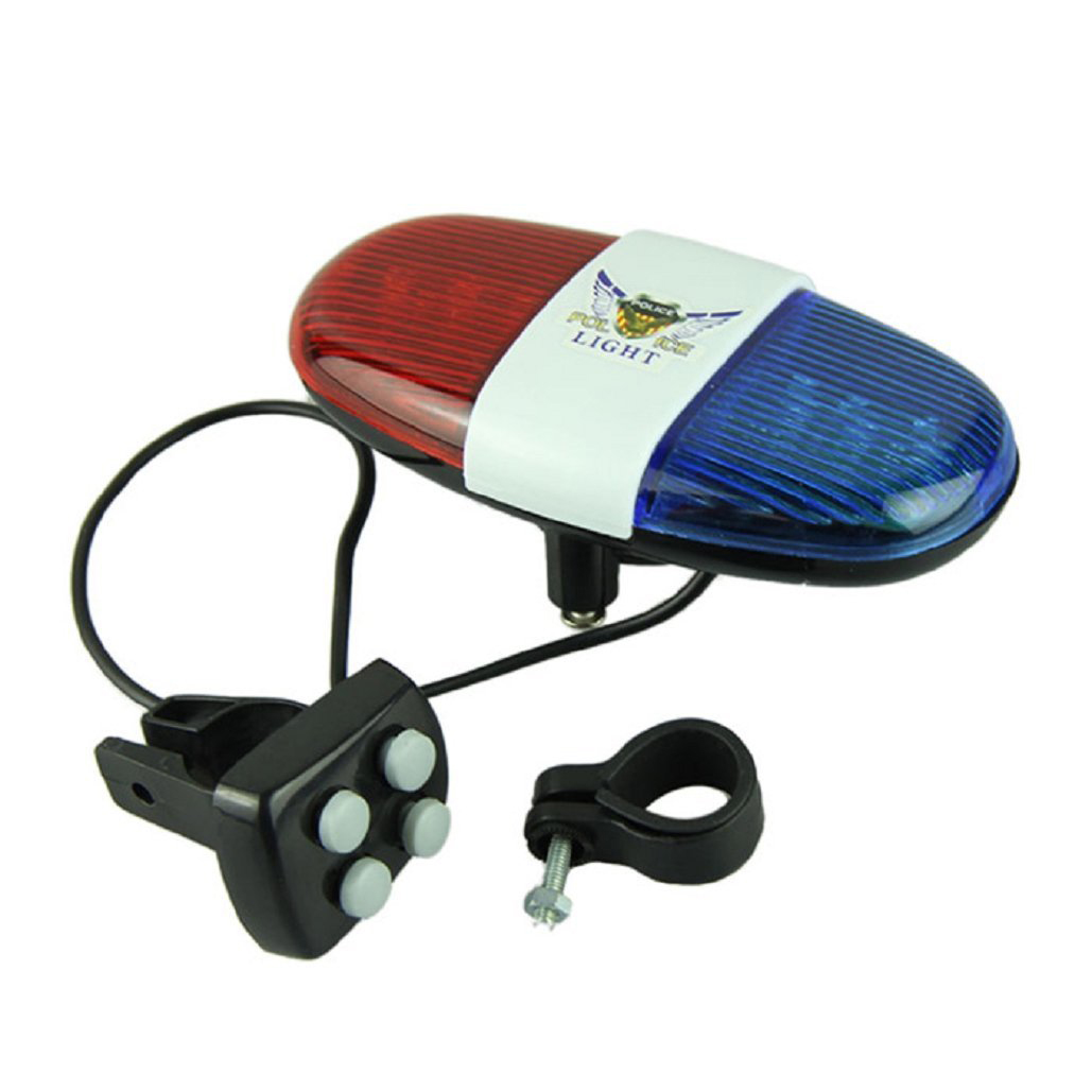 THZY Bicycle Cycling 4 Tones 6 LED Electronic LED Warning Lights Siren Horn Beeper Bell