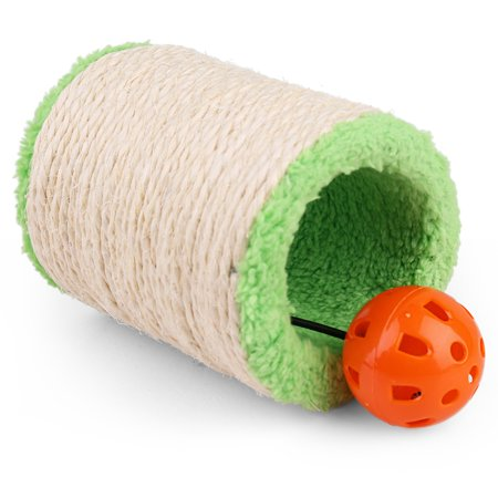 Cat Scratcher Sisal ,Cat Scratching Post, Hollow Plush Roller with Interactive Cat Toy Ball & Bell, Claws Sharpener for Kitten