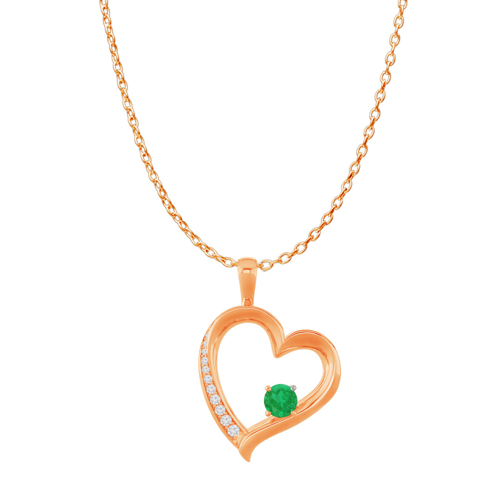14K Rose Gold CZ Emerald Open Heart Pendant Free Chain - image 2 of 2