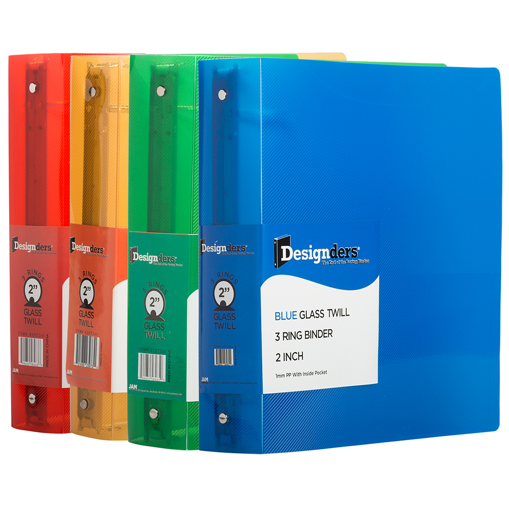 JAM Paper Plastic 2 inch Binders Assorted 3 Ring Binders (Red, Blue, Green & Orange) 4 Pack by