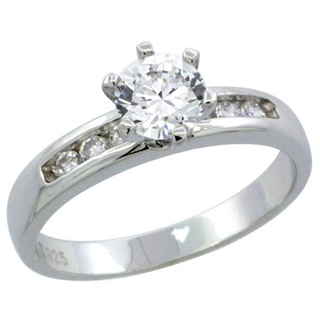 Sterling Silver Cubic Zirconia Solitaire Engagement Ring 1 Ct Size Brilliant Cut  1 8 Inch Wide