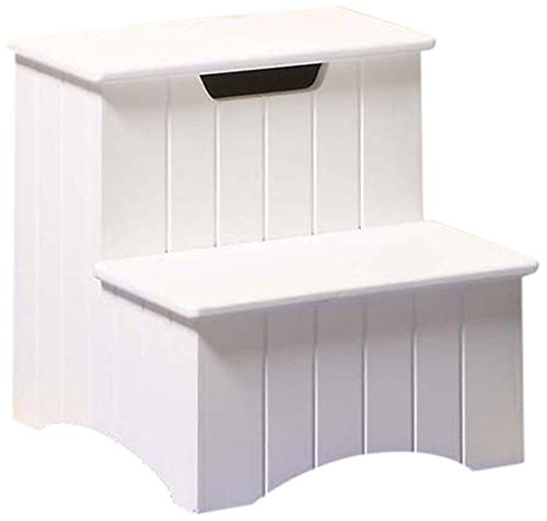Today Buy Kings Brand Large White Finish Wood Bedroom Step Stool With Storage