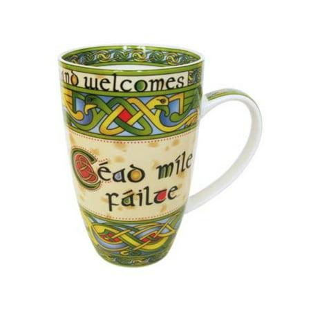 Royal Tara Bone China Mug Cead Mile Failte Irish Weave Cup - 400 ml/14 fl oz Bone China Platinum Mug