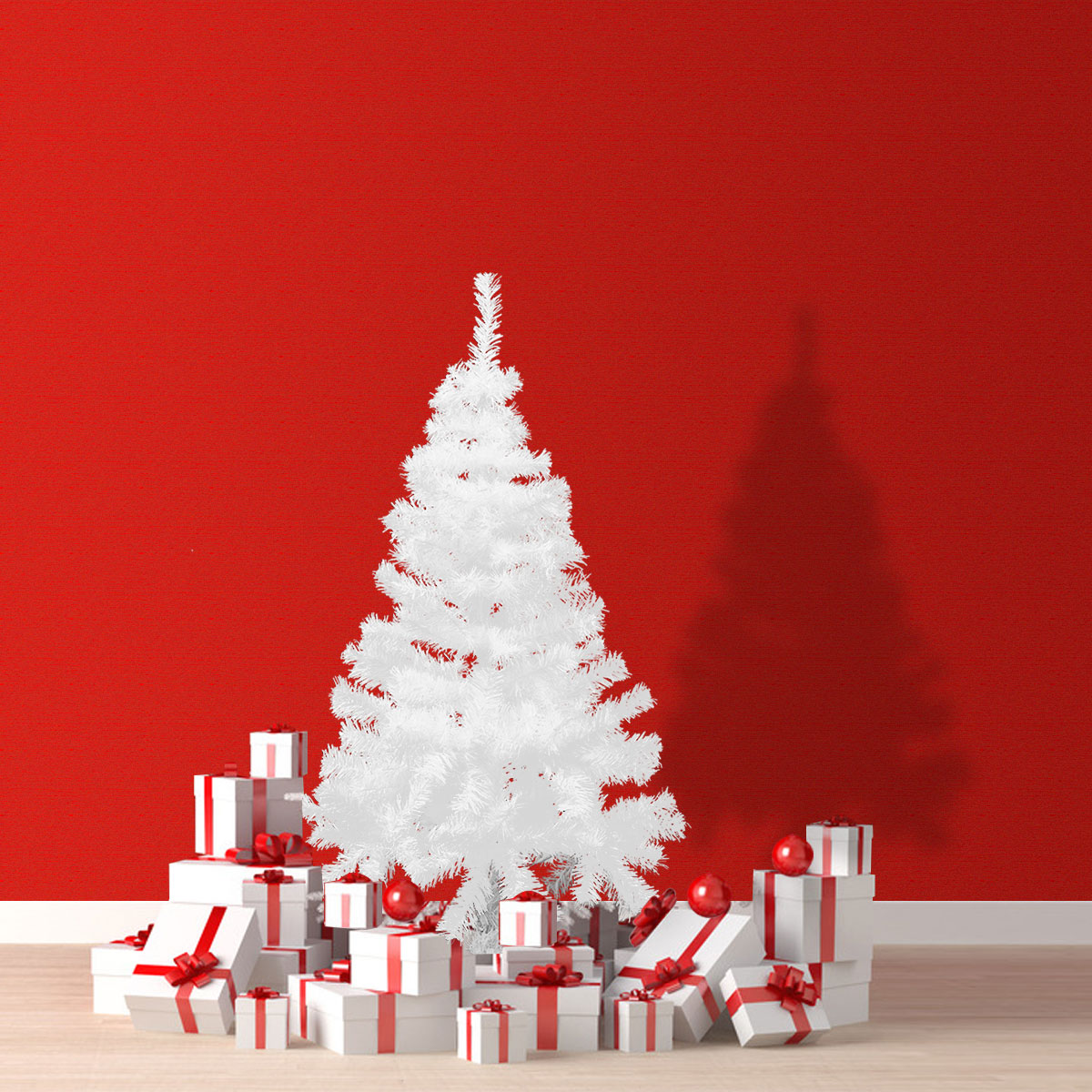 4Ft White Christmas Tree Artificial Unlit Premium Spruce Hinged Tree with Stand Holiday Festival Decor Indoor & Outdoor