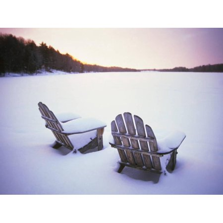 Two Snow-covered Chairs Outdoors Print Wall Art By Ralph -