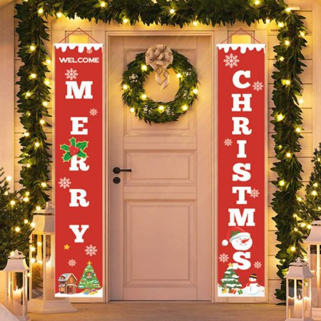 EWAVINC Christmas Door Banner Welcome and Merry Christmas Porch Hanging Sign Xmas Decor for Holiday Home Wall Apartment Party Party Door Sign
