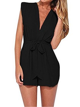 Product Image V-neck Solid Color Jumpsuit with Belt Women One Piece Outfit.  SySea 447a2409d