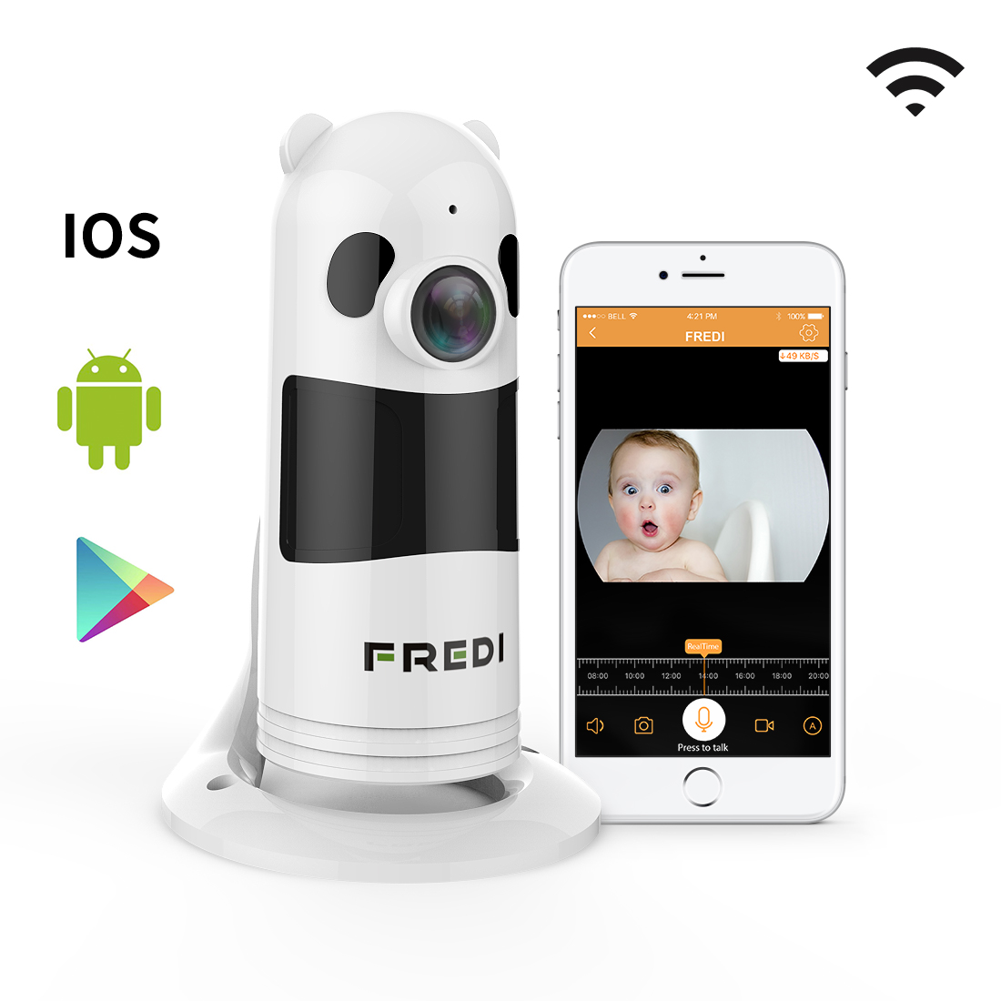 Fredi Baby Monitor Wireless Wifi Ip Surveillance Camera 1080p Hd Security With Two Way
