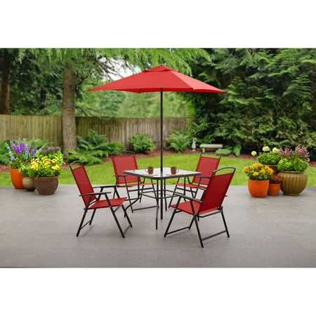 Mainstays Albany Lane 6-Piece Outdoor Patio Dining Set, Multiple Colors ()
