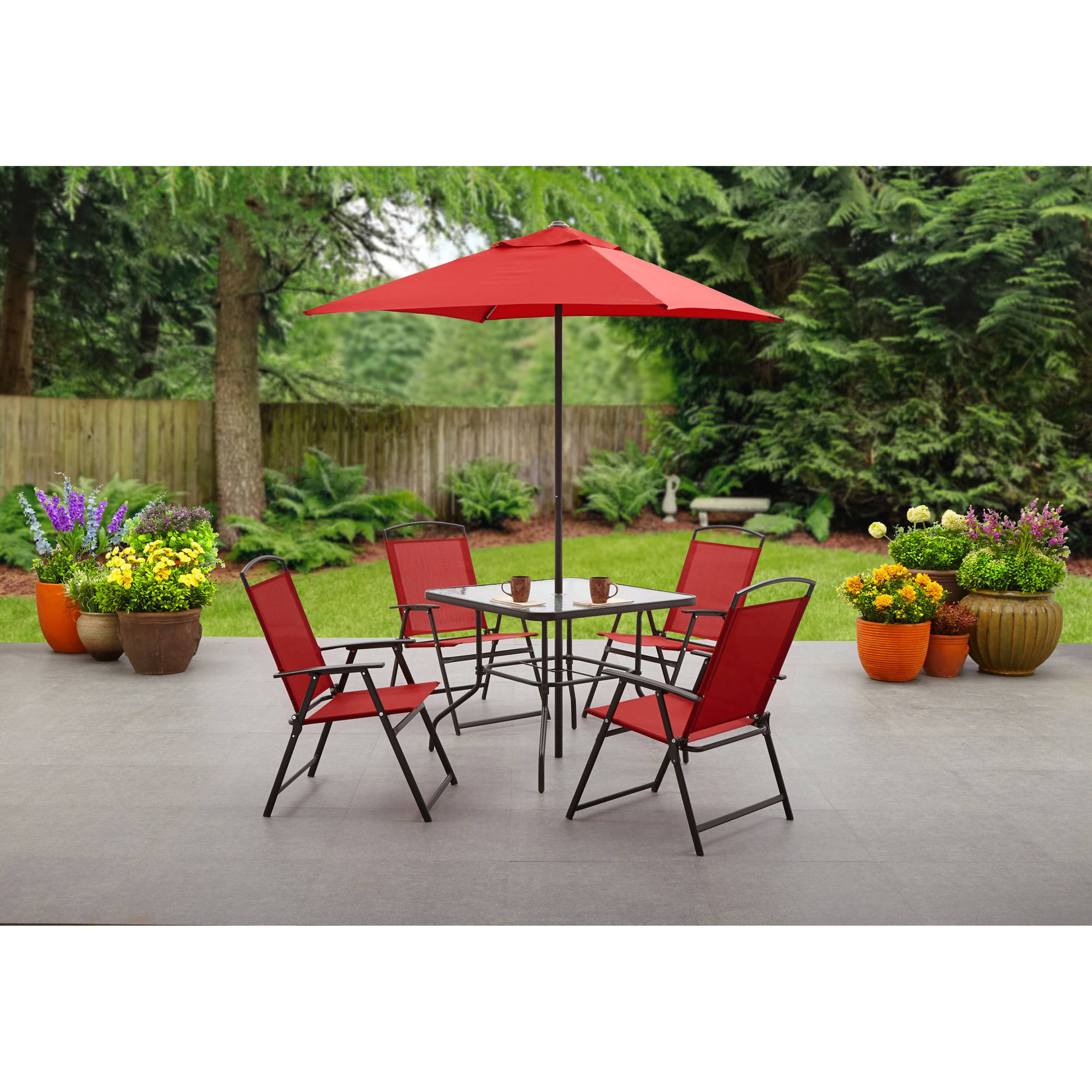 Costway 6 Pcs Patio Garden Set Furniture Umbrella Gray With 4 Folding Chairs Table Com