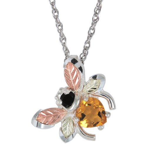 Black Hills Gold by Coleman Sterling Gemstone Bee Pendant, 18""