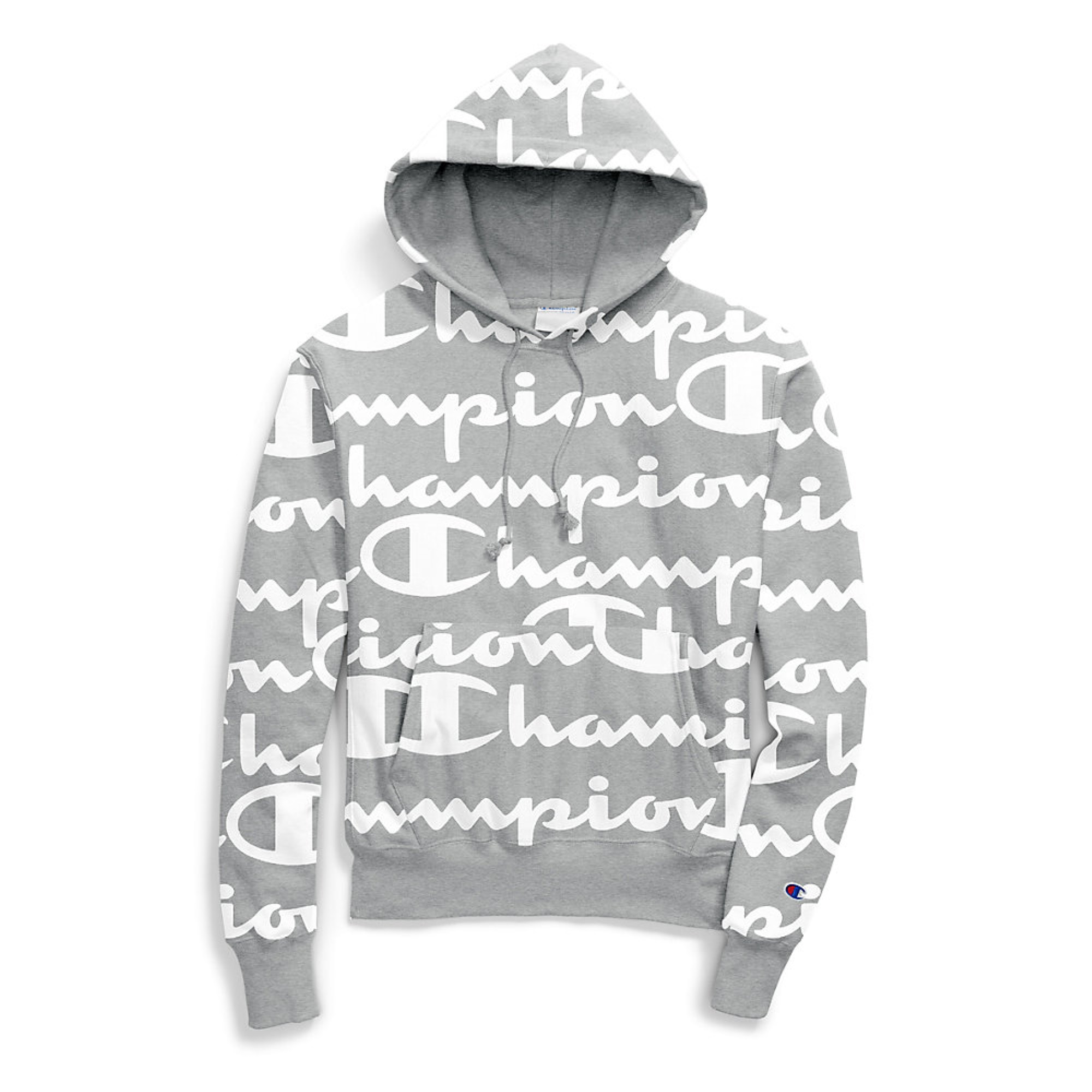 Champion LIFE Men/'s Reverse Weave Pullover Hood-Print Grey