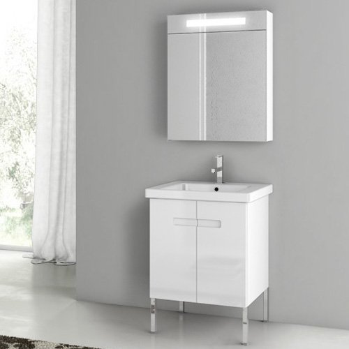 ACF by Nameeks ACF NY03-GW New York 24-in. Single Bathroom Vanity Set - Glossy White