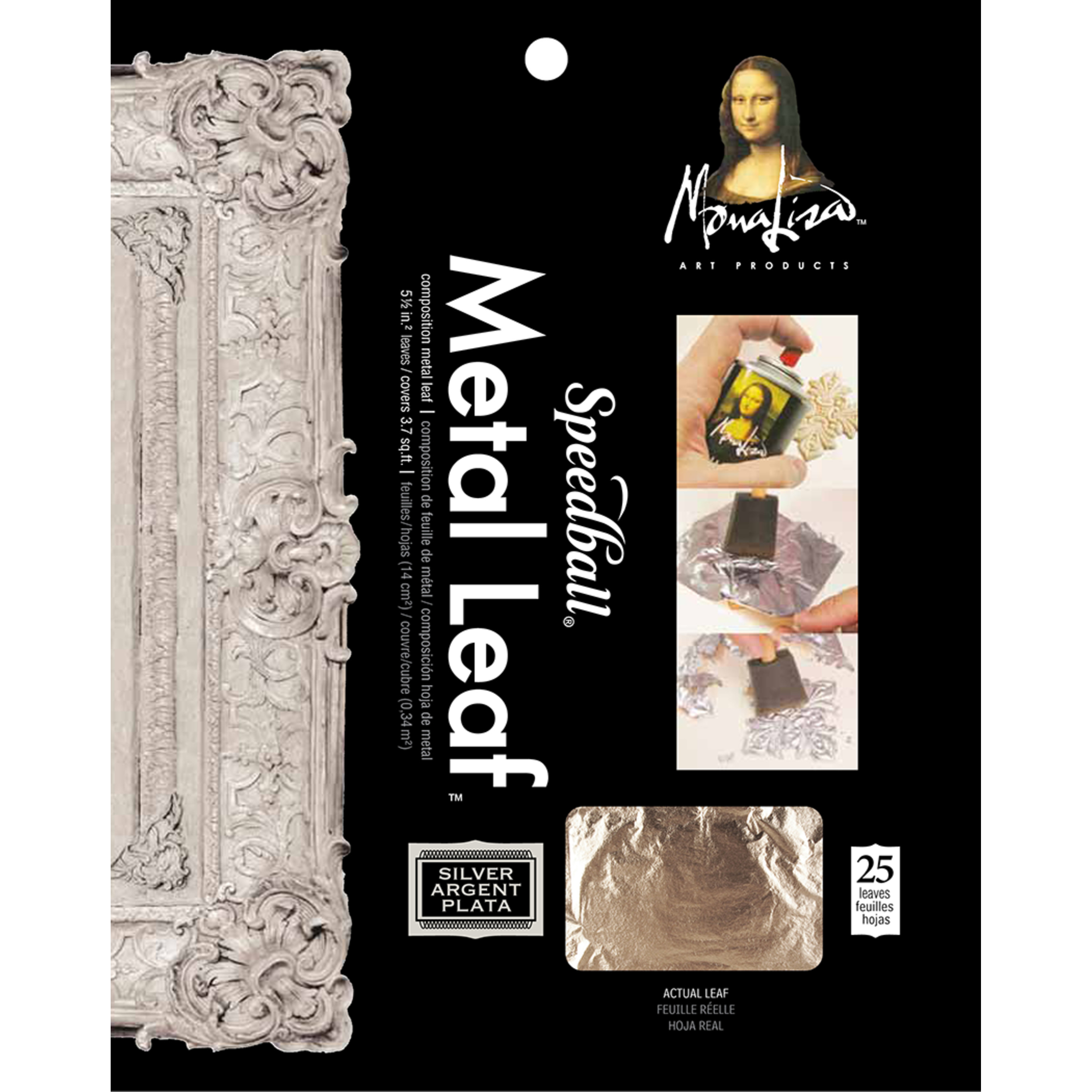 Mona Lisa Metal Leafing Sheet Silver 5-1/2in x 5-1/2in/Sheets Peggable