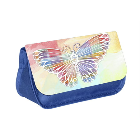 Butterfly - Blue Medium Sized Makeup Bag with 2 Zippered Pockets and Velcro Closure - Butterfly Makeup