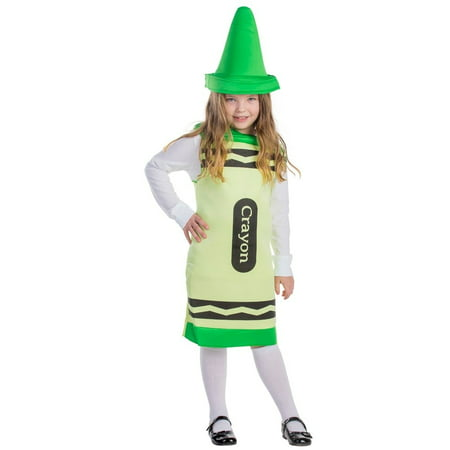 Crayons Costume (Dress Up America Childrens Green Crayon)