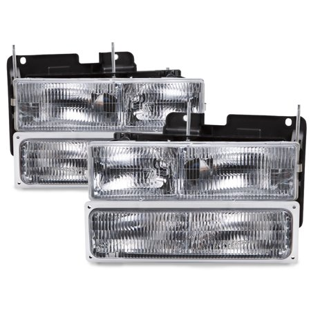 Track Headlight (1994-1999 Chevrolet Truck 4-Piece Stock Style Headlight Set Headlamp Assembly Pair GM2502101 and GM2503101)