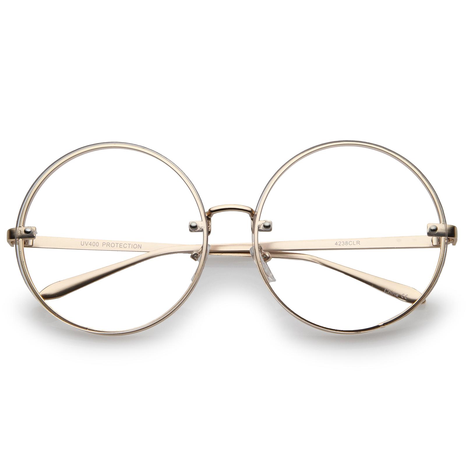 sunglassLA - Oversize Metal Slim Temple Flat Lens Round Eyeglasses 65mm (Gold / Clear) - 65mm