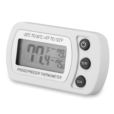 Digital Refrigerator Thermometer,EEEkit Mini Freezer Thermometer, Refrigerator Thermometer,Big Digits LCD Display, ℃/℉ Switch + Max/Min Record,for Kitchen, Home, Restaurants, Bars (Battery