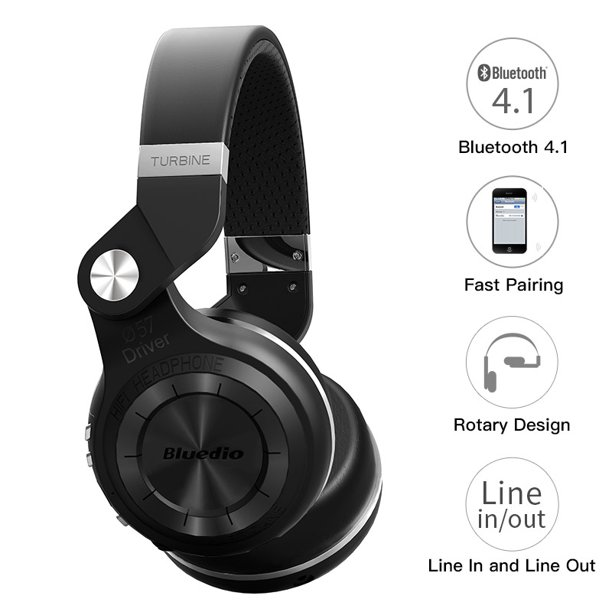 Bluedio T2S wireless headphones with microphone bluetooth headset for Iphone Samsung Xiaomi headphone(Black)