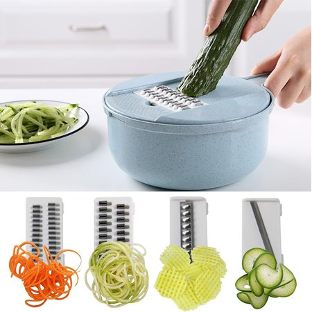 Vegetable Chopper Onion Chopper Multi Function Cutter Slicer Grater with 4 Dicing Blades (Pink) - image 2 de 7